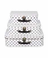 Vintage koffertje wit met zwarte stippen 25 cm