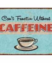 Vintage koffie retro muurplaat 30 x 40 cm cant function without caffeine