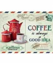 Vintage koffie retro muurplaat coffee is always a good idea 15 x 20 cm