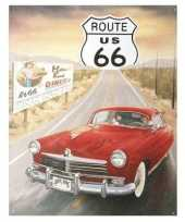 Vintage metalen wandplaat route 66 us auto