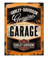 Vintage muurplaat harley davidson garage 30 x 40 cm