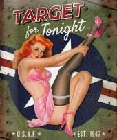 Vintage muurplaat target for tonight 30 x 40 cm