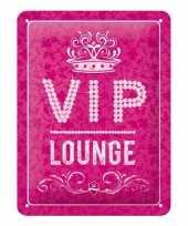 Vintage muurplaat vip lounge roze 15 x 20 cm