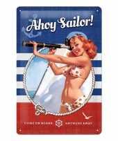 Vintage muurplaatje ahoy sailer 20 x 30 cm