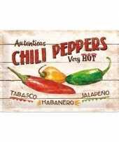 Vintage muurplaatje chili pepers