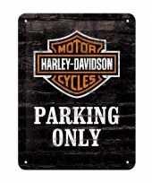 Vintage muurplaatje harley davidson parking 15 x 20 cm