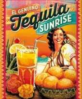 Vintage muurplaatje tequila sunrise 15 x 20 cm