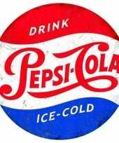 Vintage retro rond muurplaatje pepsi cola 30 cm