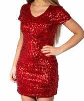 Vintage rode glitter pailletten disco jurkje dames