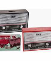 Vintage rode radio spaarpot 18 cm