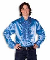 Vintage rouche overhemd voor heren blauw