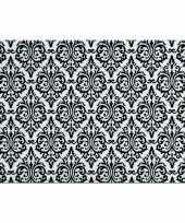 Vintage set van 12x stuks rechthoekige placemats met zwarte barok print 43 5 x 28 5 cm