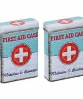 Vintage set van 2x stuks pleisters medicijnen bewaarblikjes first aid retro print groen wit 7 x 3 x 9 cm