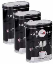 Vintage set van 3x stuks koffie bewaarblikken zwart 17 cm