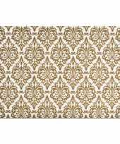 Vintage set van 6x stuks rechthoekige placemats met gouden barok print 43 5 x 28 5 cm