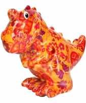 Vintage spaarpot dinosaurus oranje met peace teken 17 cm