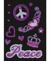 Vintage stickers peace met strass steentjes