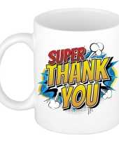 Vintage super thank you cadeau mok beker wit pop art 300 ml