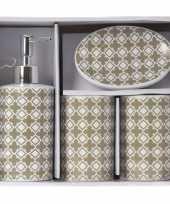 Vintage taupe witte retro badkamer set 4 delig