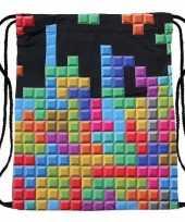 Vintage tetris print rugtas met rijgkoord