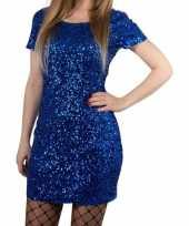 Vintage toppers blauwe glitter pailletten disco jurkje one size voor dames