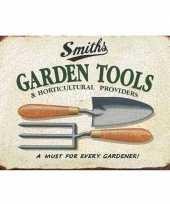 Vintage tuin retro muurplaat 30 x 40 cm garden tools