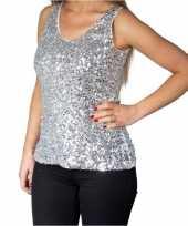 Vintage zilveren glitter pailletten disco topje mouwloos shirt dames